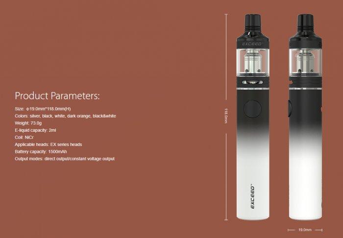 Joyetech EXCEED D19 elektronická cigareta 1500mAh Černá 1ks